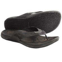 Merrell Tudor Thong Sandals - Flip-Flops, Leather (For Men) in Black - Closeouts