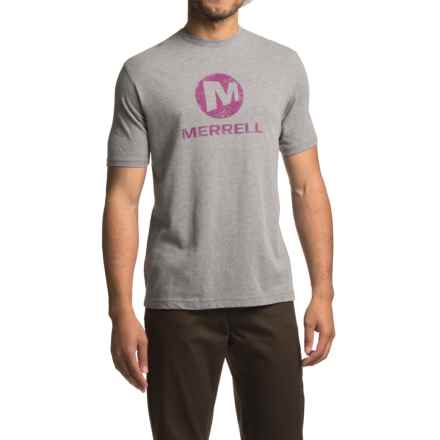 Merrell Vintage Stacked T-Shirt - Short Sleeve (For Men) in Manganese/Hyacinth Violet - Closeouts