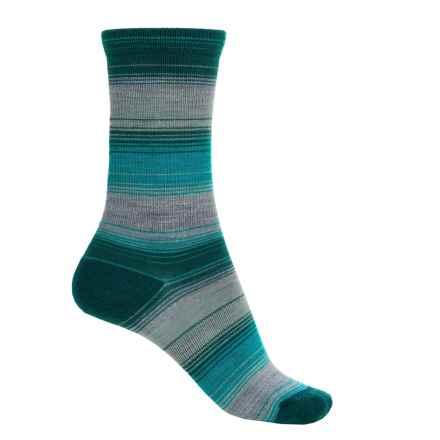 Merrell Vishu Stripe Socks - Merino Wool, Crew (For Women) in Kelp/Teal - Closeouts