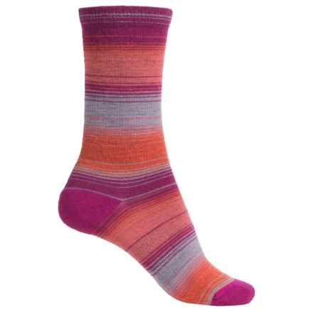 Merrell Vishu Stripe Socks - Merino Wool, Crew (For Women) in Raspberry/Atomic - Closeouts