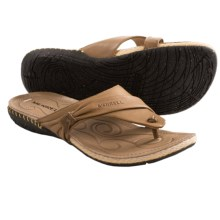 Merrell Whisper Flip-Flop Sandals - Leather (For Women) in Tea Leaf - Closeouts