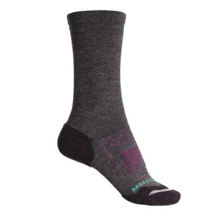Merrell Zoned Light Hiking Socks - Merino Wool, Crew (For Women) in Black Marl - Closeouts