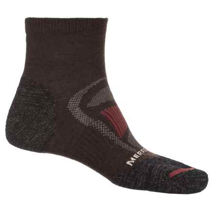 Merrell Zoned Quarter Light Hiker Sock - Merino Wool, Quarter Crew (For Men) in Brown Heather - Closeouts