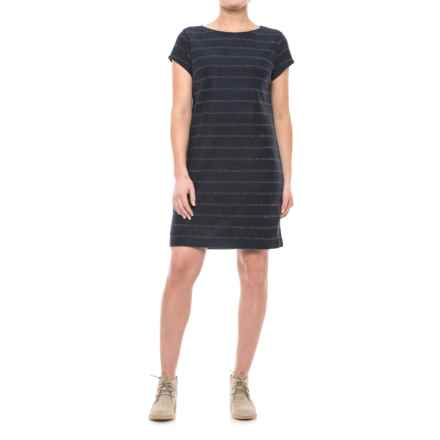 Metallic Stripe Dress - Short Sleeve (For Women) in Navy - 2nds