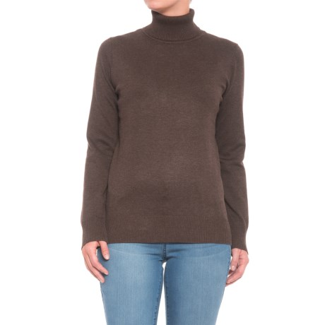 Metric Knits Knits Turtleneck Sweater (For Women) in Heather Brown