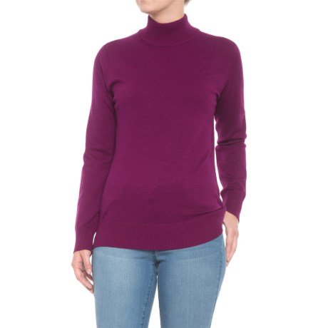 Metric Knits Mock Neck Sweater (For Women) in Eggplant