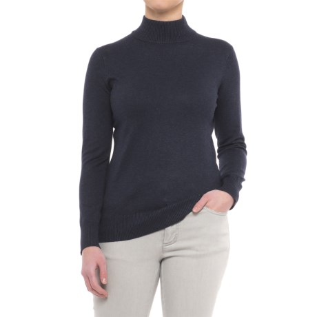 Metric Knits Mock Neck Sweater (For Women) in Heather Navy