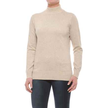 Metric Knits Mock Neck Sweater (For Women) in Heather Tan - Closeouts