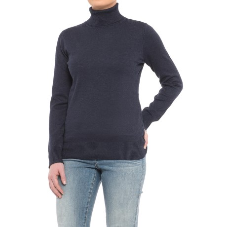 Metric Knits Turtleneck Sweater (For Women) in Heather Navy