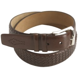 Mezlan Buffalo Leather Belt (For Men) in Medium Brown