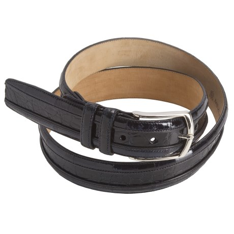 Mezlan Crocodile-Eelskin Belt (For Men) in Blue
