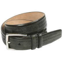 Mezlan Lizard Leather Belt - Satin Silver Buckle (For Men) in Olive - Closeouts