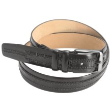 Mezlan Ostrich-Calfskin Belt (For Men) in Black/Grey - Closeouts