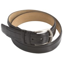 Mezlan Ostrich-Calfskin-Crocodile Belt (For Men) in Black - Closeouts