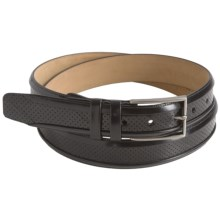 Mezlan Perforated Eelskin and Calfskin Belt (For Men) in Black - Closeouts