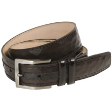 Mezlan Waffled Italian Nappa Calfskin Belt (For Men) in Brown - Closeouts