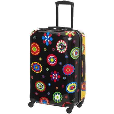 "Mia Toro Ekko Hardside Spinner Suitcase - 28"" in Black/Yellow W/Flower Power Print - Closeouts"