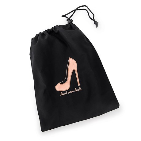 "Miamica ""Head Over Heels"" Saffiano Shoe Bag in Rose Gold"