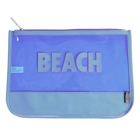 """Miamica Beach Carry Pouch - 8.5x12"""" in Blue/Neon/Clear"""