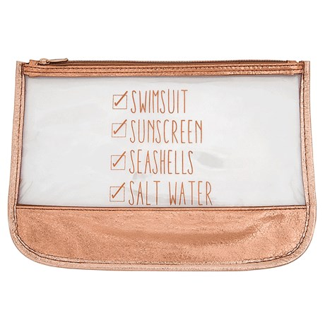 Miamica Beach Checklist Carry Pouch - Waterproof in Rose Gold