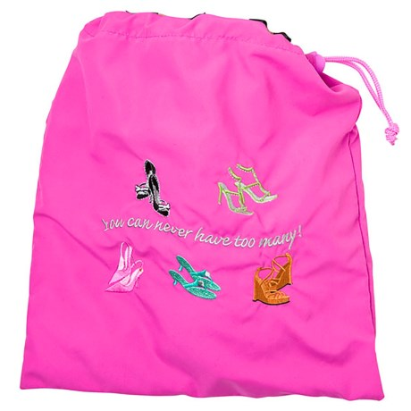 Miamica Embroidered Shoe Bag in Fuchsia