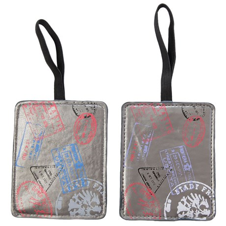 Miamica Silver Stamp Luggage Tags - Set of 2 in Silver