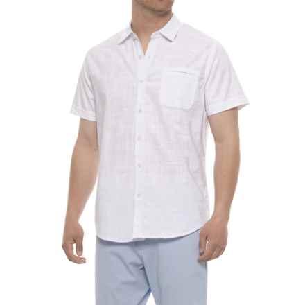 Michael Brandon Crosshatch Weave Shirt - Short Sleeve (For Men) in White - Overstock