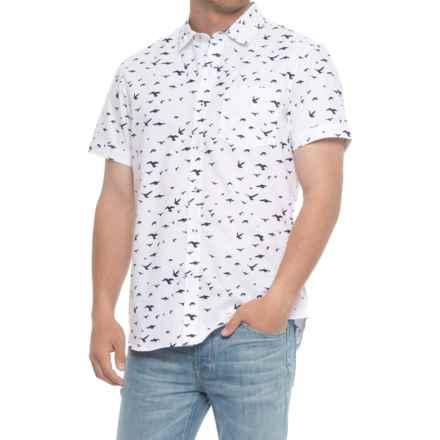 Michael Brandon Flight of the Birds Woven Shirt - Short Sleeve (For Men) in White - Overstock