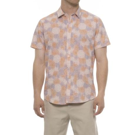 Michael Brandon Floral Print Shirt - Short Sleeve (For Men) in Orange