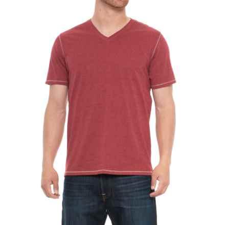Michael Brandon Heathered T-Shirt - V-Neck, Short Sleeve (For Men) in Red - Overstock