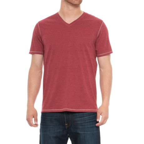 Michael Brandon Heathered T-Shirt - V-Neck, Short Sleeve (For Men) in Red