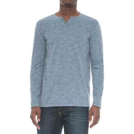 Michael Brandon Inject Slub-Knit Henley Shirt - Long Sleeve (For Men) in Antique Indigo - Overstock