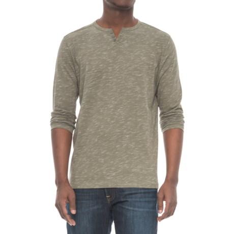 Michael Brandon Inject Slub-Knit Henley Shirt - Long Sleeve (For Men) in Dusty Olive