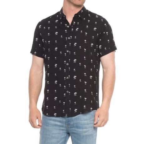 Michael Brandon Print Rayon Shirt - Short Sleeve (For Men) in Black