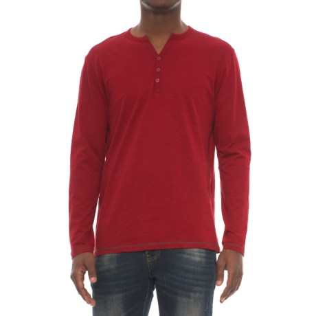 Michael Brandon Y-Neck Slub Henley Shirt - Long Sleeve (For Men) in Red