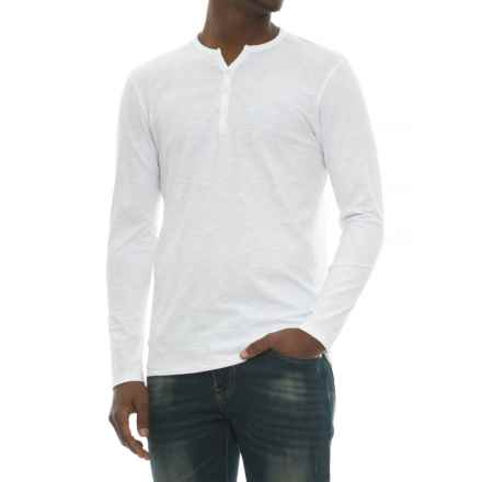 Michael Brandon Y-Neck Slub Henley Shirt - Long Sleeve (For Men) in White - Overstock