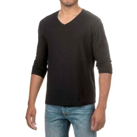 Michael Stars Cotton Slub T-Shirt - V-Neck, Long Sleeve (For Men) in Black - Closeouts