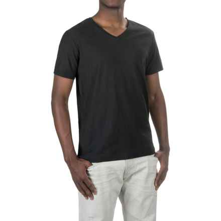 Michael Stars Cotton Slub T-Shirt - V-Neck, Short Sleeve (For Men) in Black - Closeouts