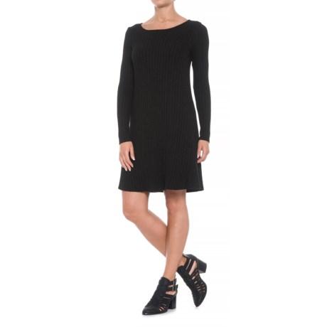 Michael Stars Crew Neck Dress - Long Sleeve (For Women) in Black