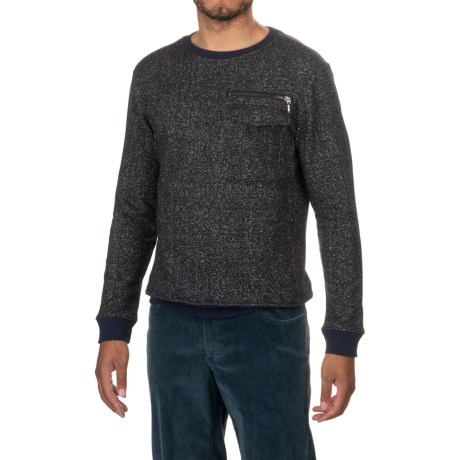 Michael Stars Crew Neck Sweater - Zip Pocket (For Men) in Black/Heather Grey