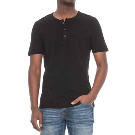 Michael Stars Jersey Henley Shirt - Short Sleeve (For Men) in Black - Closeouts