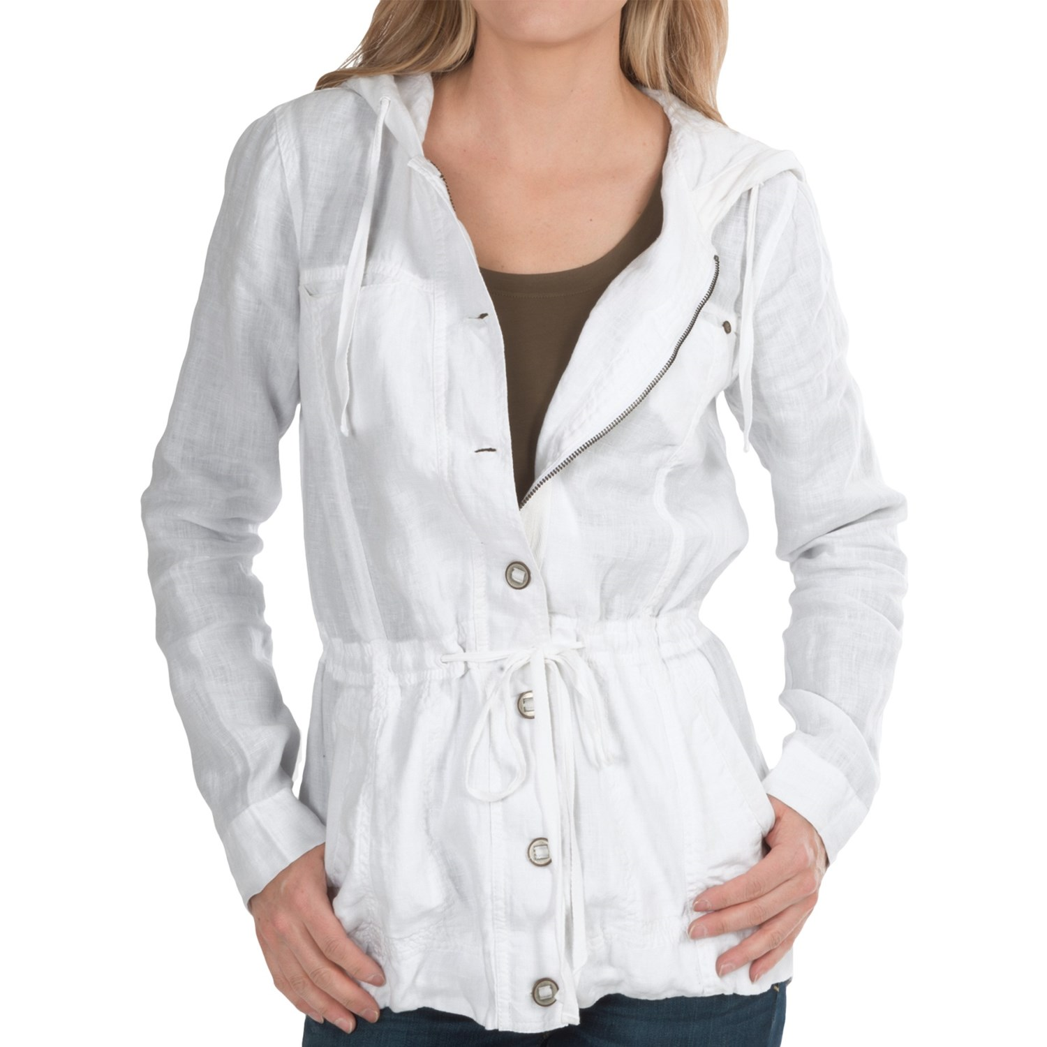Michael Stars Linen Anorak Jacket (For Women) in White. Hover to zoom