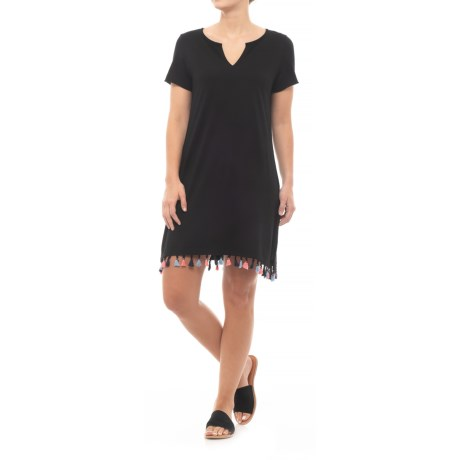 Michael Stars Notch Neck T-Shirt Dress - Short Sleeve (For Women) in Black