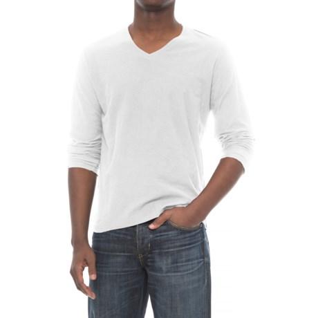 Michael Stars Slub T-Shirt - V- Neck, Long Sleeve (For Men) in White