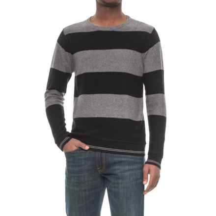 Michael Stars Striped Crew Neck Sweater (For Men) in Black/Derby Grey - Closeouts