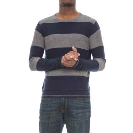 Michael Stars Striped Crew Neck Sweater (For Men) in Derbby Grey/Navy - Closeouts