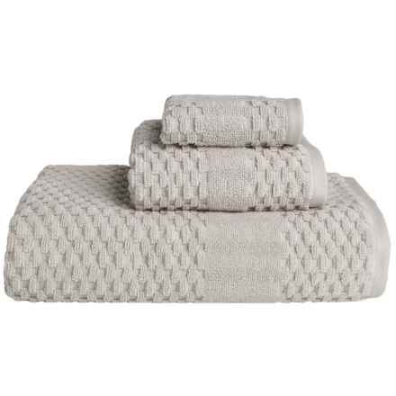 Microlush by Laura Hill Diamond Dobby Towels - Set of 3 in Light Grey - Overstock