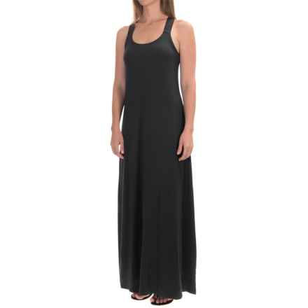 Micromodal® Maxi Tank Dress - Built-In Bra (For Women) in Black - 2nds