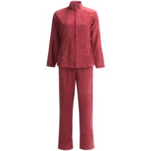 Microsuede Jacket and Pants Set (For Women) in Burgandy - 2nds