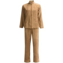 Microsuede Jacket and Pants Set (For Women) in Khaki - 2nds